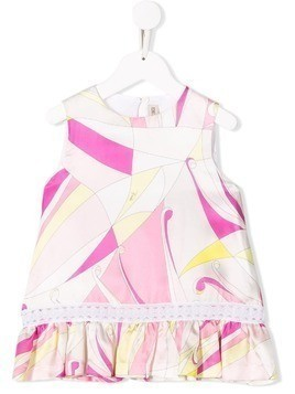 Emilio Pucci Junior Embroidered Abstract Floral Print Top - Pink