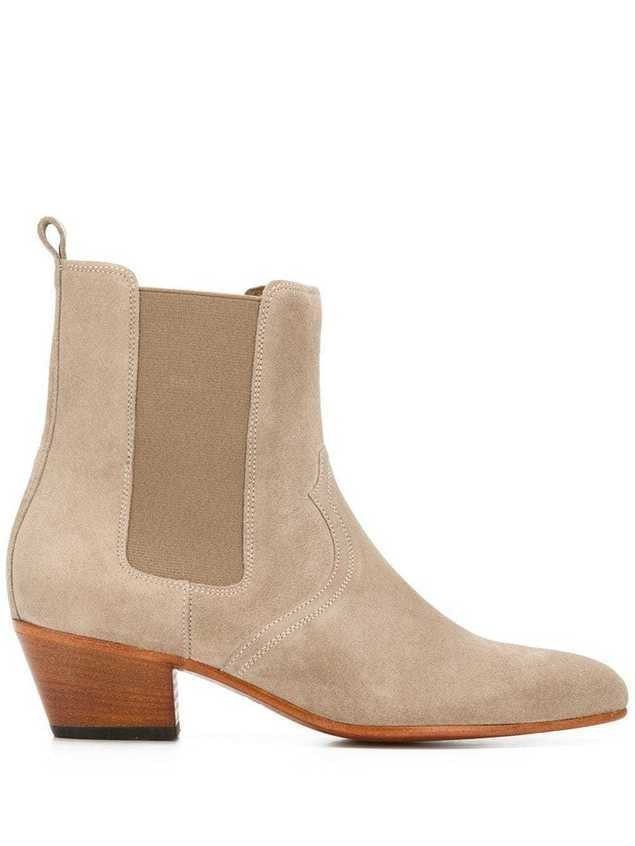 Closed block heel ankle boots - NEUTRALS