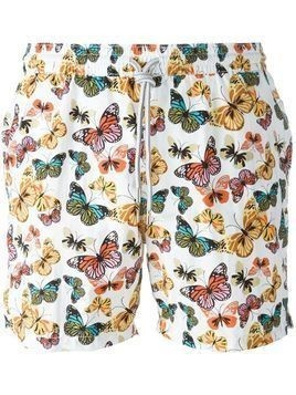 Capricode butterfly print swim shorts - White