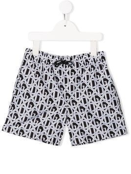 Dolce & Gabbana Kids DG print swim shorts - Black