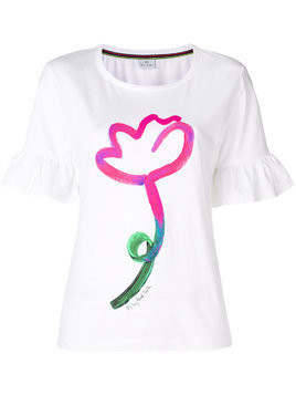 Ps By Paul Smith flower print frill sleeve tee - White