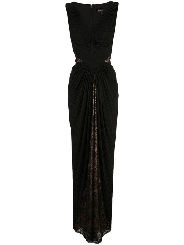 Tadashi Shoji lace draped evening dress - Black