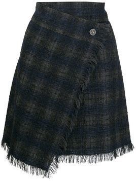 Chanel Pre-Owned plaid wrap skirt - Black