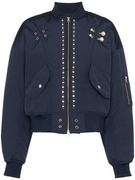 Blindness pearl-applique bomber jacket - Blue