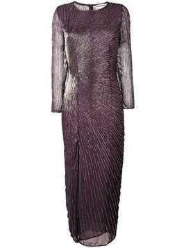 Giacobino bead embroidered slit front dress - PURPLE