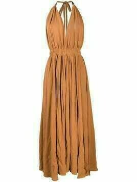 Caravana long halterneck cotton-blend dress - ORANGE