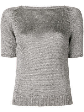 Charlott fitted silhouette knitted top - Grey