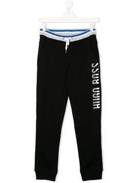 Boss Kids TEEN logo printed joggers - Black
