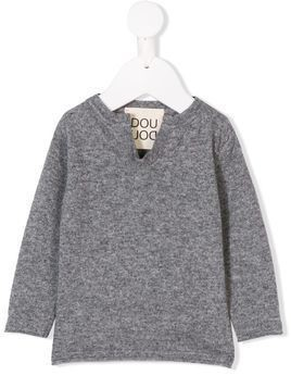 Douuod Kids notched neck sweater - Grey