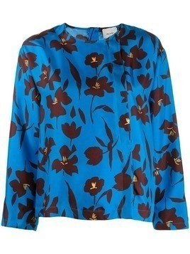 Alysi loose-fit floral blouse - Blue