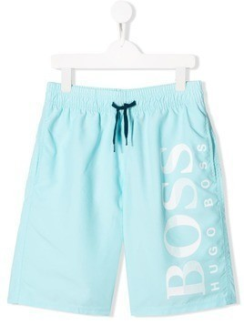 Boss Kids TEEN logo swim shorts - Blue