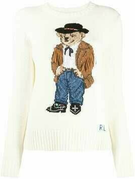 Polo Ralph Lauren bear print jumper - White