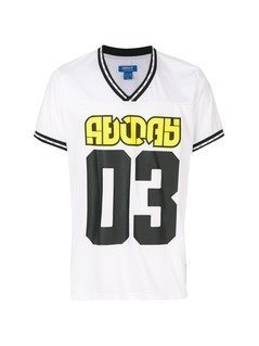Adidas Originals V neck printed T-shirt - White