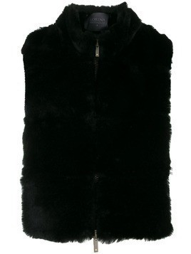Lorena Antoniazzi shearling zip-up gilet - Black