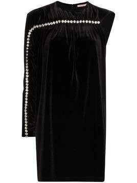 Christopher Kane one sleeve diamanté detail mini dress - Black