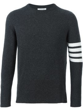 Thom Browne Crewneck Pullover With 4-Bar Stripe In Dark Grey Cashmere