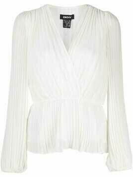DKNY pleated V-neck blouse - White