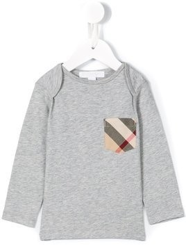 Burberry Kids check pocket T-shirt - Grey