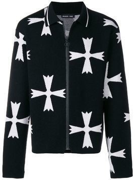 Riccardo Comi pattern zipped cardigan - Black