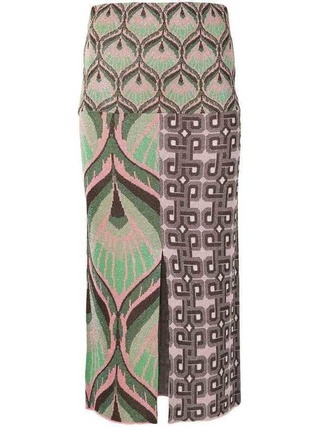 Circus Hotel lurex pencil skirt - Brown