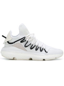Y-3 ridged lace-up sneakers - White