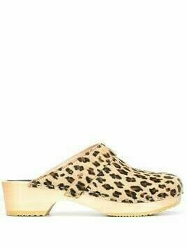 Swedish Hasbeens Swedish Husband leopard-print clogs - Gold