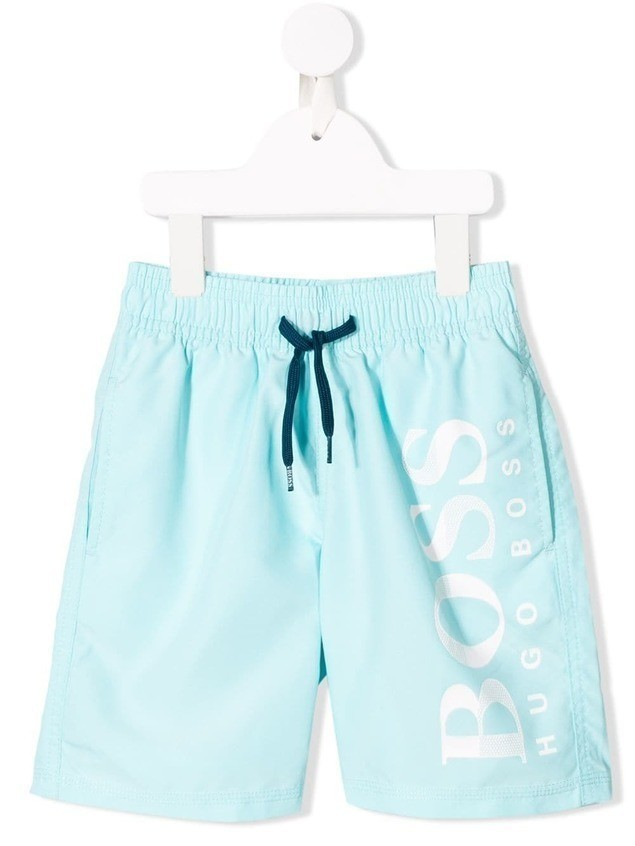 Boss Kids logo swim shorts - Blue