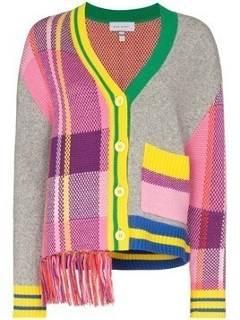 Mira Mikati fringe trim panelled cardigan - Grey