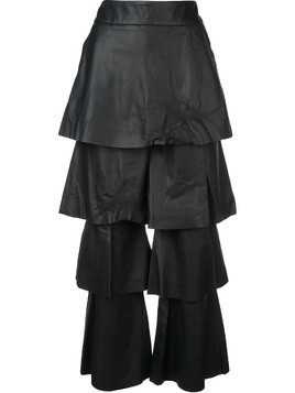 Osman layered leather trousers - Black