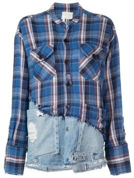 Greg Lauren deconstructed denim shirt - Blue