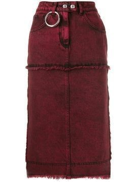 Brognano stitched panels denim skirt - Red