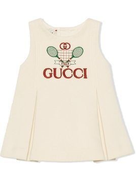 Gucci Kids Gucci Tennis embroidered dress - White