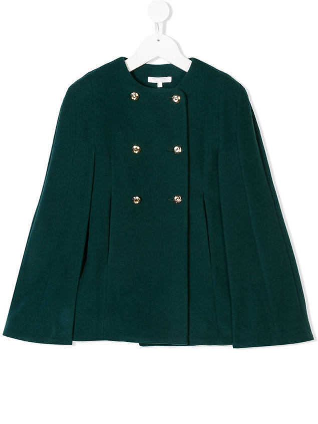 Chloé Kids double-breasted cape - Green