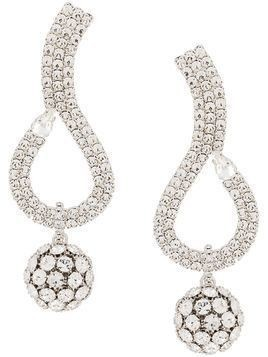 Alessandra Rich crystal embellished pendant earrings - Silver