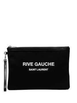 Saint Laurent logo print clutch - Black