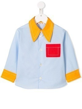 Marni Kids stitching detail shirt - Blue