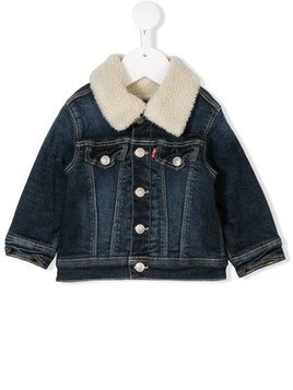 Levi's Kids faux fur collared denim jacket - Blue