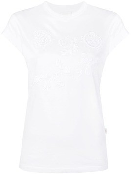 Chloé embroidered cap sleeve T-shirt - White