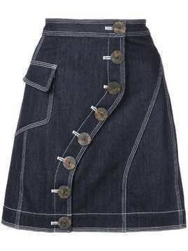 Acler button fastened denim skirt - Blue