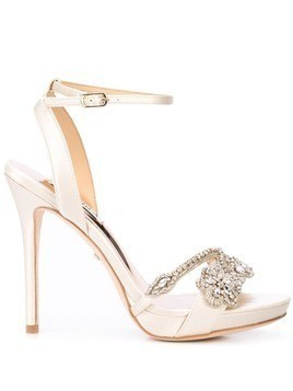 Badgley Mischka crystal-embellished stiletto pumps - White