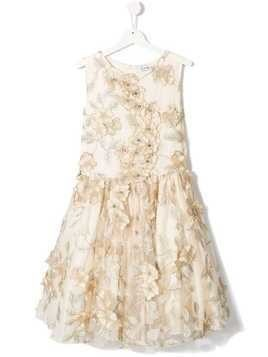 Lesy floral embroidered dress - Gold
