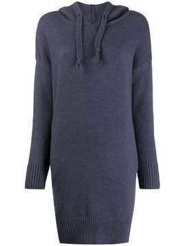 Jovonna knitted longline hoodie - Blue