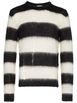 Saint Laurent Stripe Knit Wool Jumper - Black