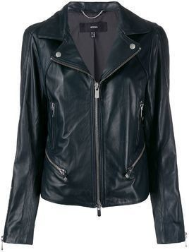 Arma slim-fit zip-up biker jacket - Blue