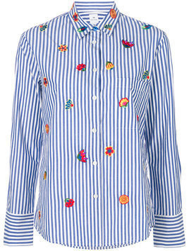 Ps By Paul Smith - flower embroidered striped shirt - Damen - Cotton - 42 - Blue