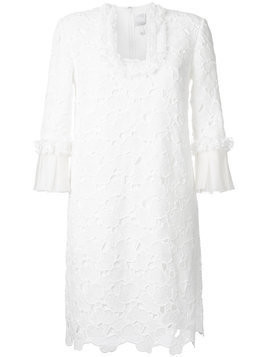 Huishan Zhang scalloped macrame lace dress - White