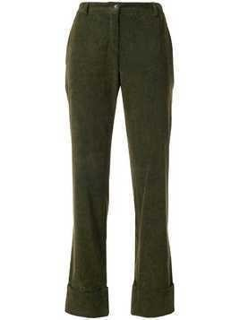 Romeo Gigli Pre-Owned turn-up straight leg trousers - Green