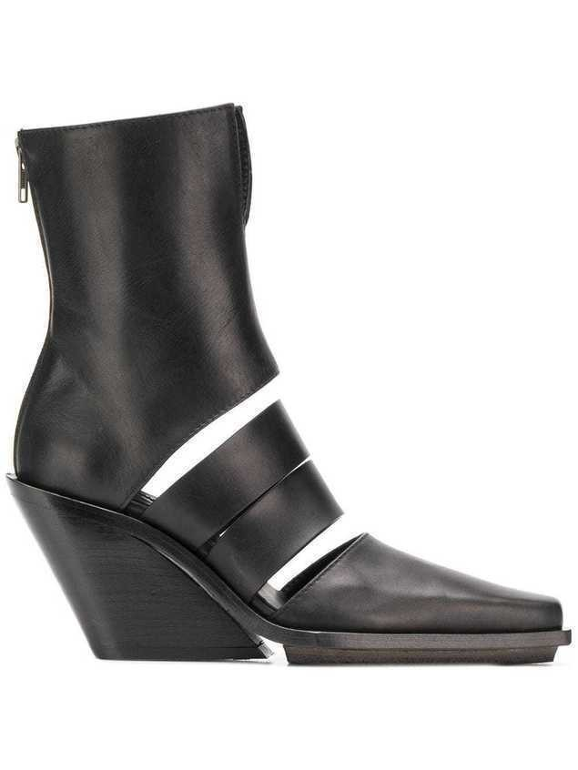 Ann Demeulemeester cut-out ankle boots - Black