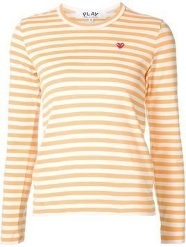 Comme Des Garçons Play mini heart striped T-shirt - Yellow & Orange