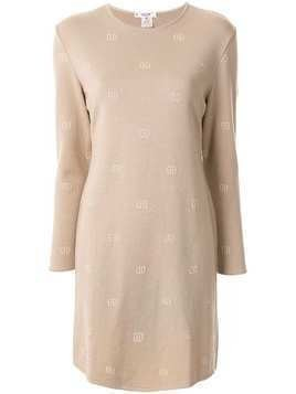 Céline Pre-Owned logo embroidered knitted dress - Brown